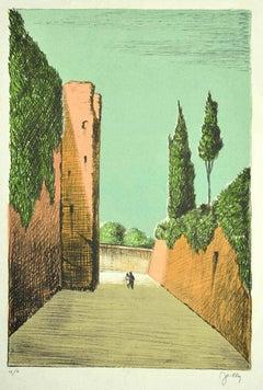 Roman Street - Original Lithograph by Fabio Failla - 1980s