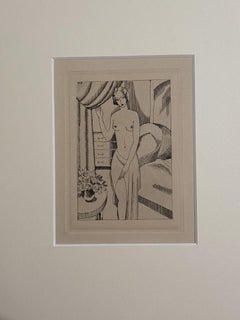 Nude Woman - Original Etching by J. Buckland Wright - 1931