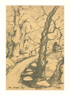 Landscape - Original Pencil on Paper by Mino Rosi - 1946