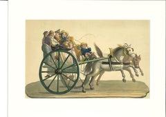 Wagon - Original Gouache on Paper - 19th Century