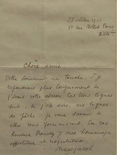 L.A.S. - Original Autograph Letter Signed by M. Jacob - 1933