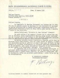 Quadriennale d'Arte di Roma - Original Letters by Fortunato Bellonzi - 1952/1961