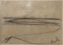 The Sea - Original Drawing In Pencil - Late 20th Century