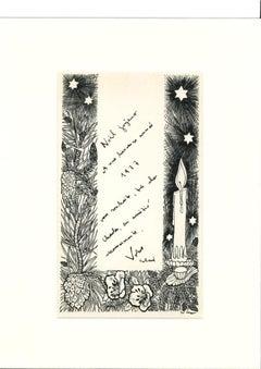 Christmas Greeting Card - Original Ink by Erhard Klepper - 20th Century