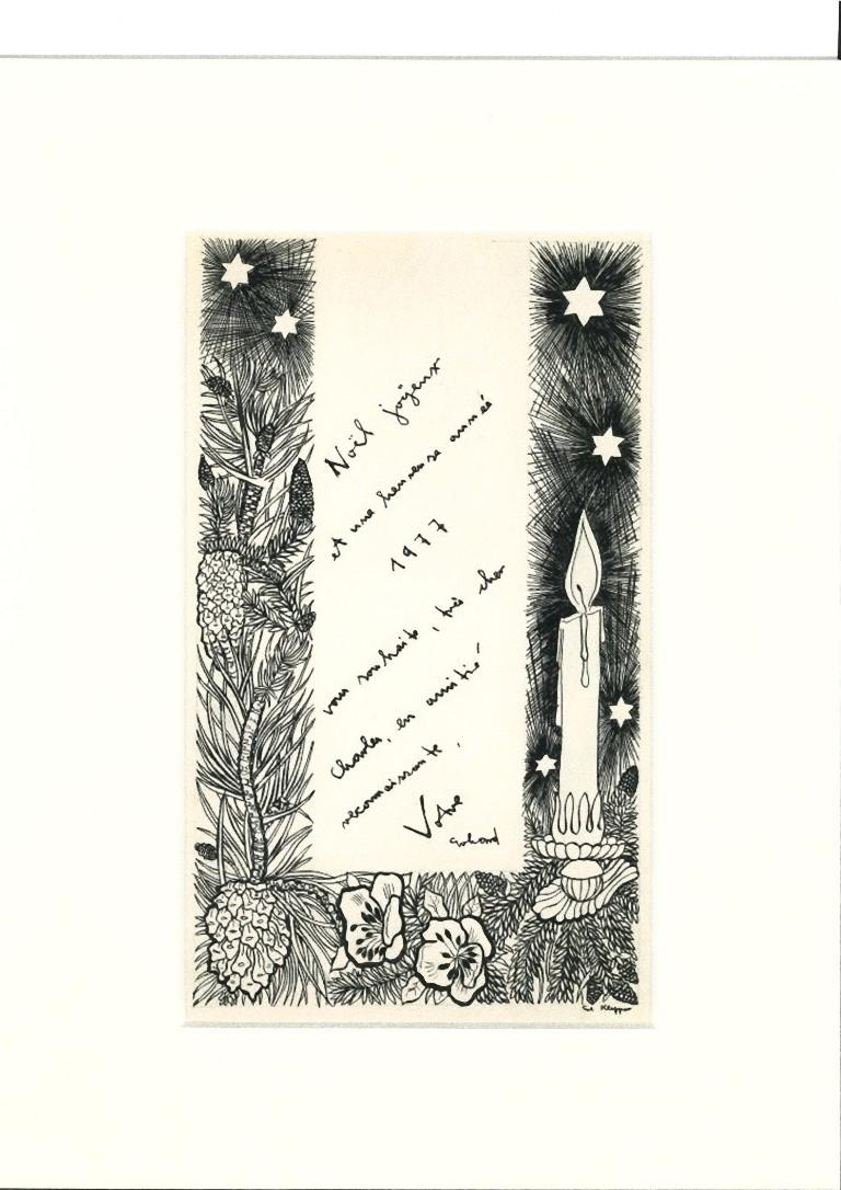 Christmas Greeting Card is an original drawing in china ink on paper realized by Erhard Klepper (1906-1980).  Hand-signed on the lower right.  The state of preservation is very good.  The artwork represents two women while reading a Christmas