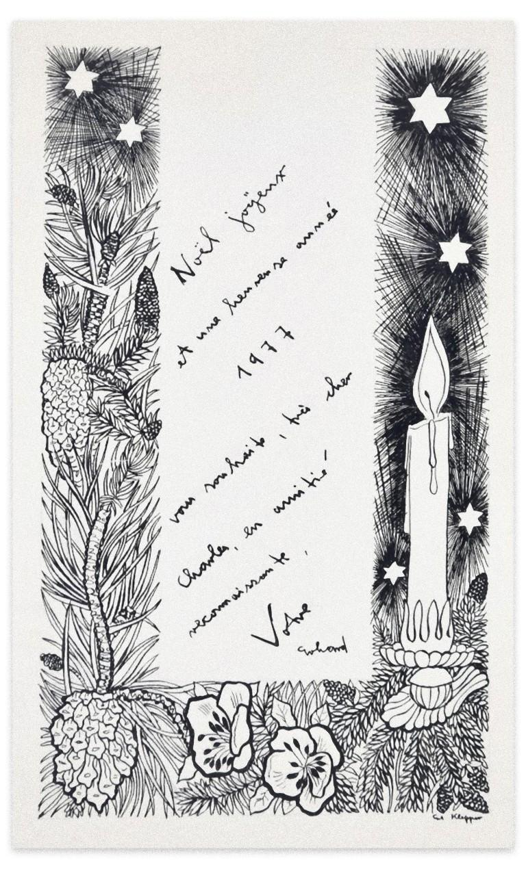 Christmas Greeting Card - Original Ink by Erhard Klepper - 20th Century For Sale 1