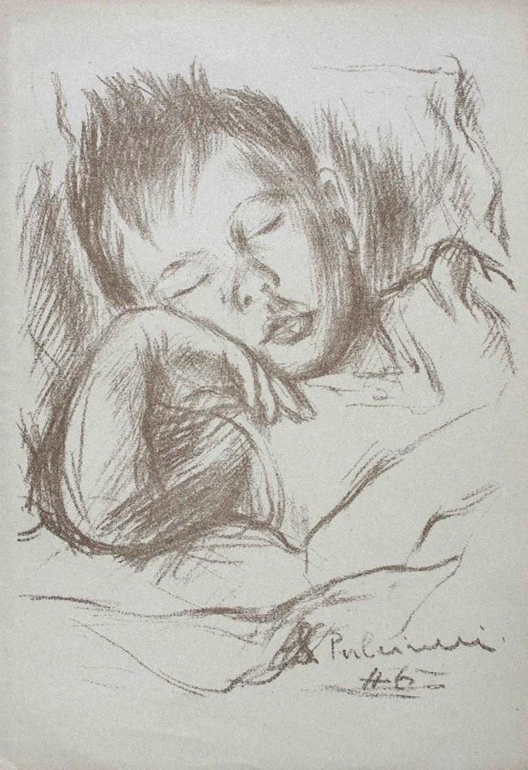 Sleeping Boy - Original Carbon Pencil by Silvano Pulcinelli - 1946