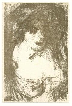 Portrait - Original Lithograph by Aligi Sassu - 1946