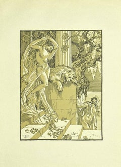 Female Nude Liberty - Original Lithograph by Ferdinand Bac - 1922