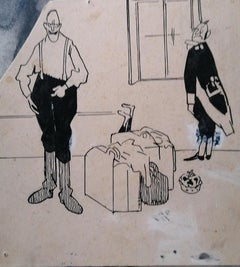 Satirical Scene - Original China Ink on Cardboard - Early 20th Century
