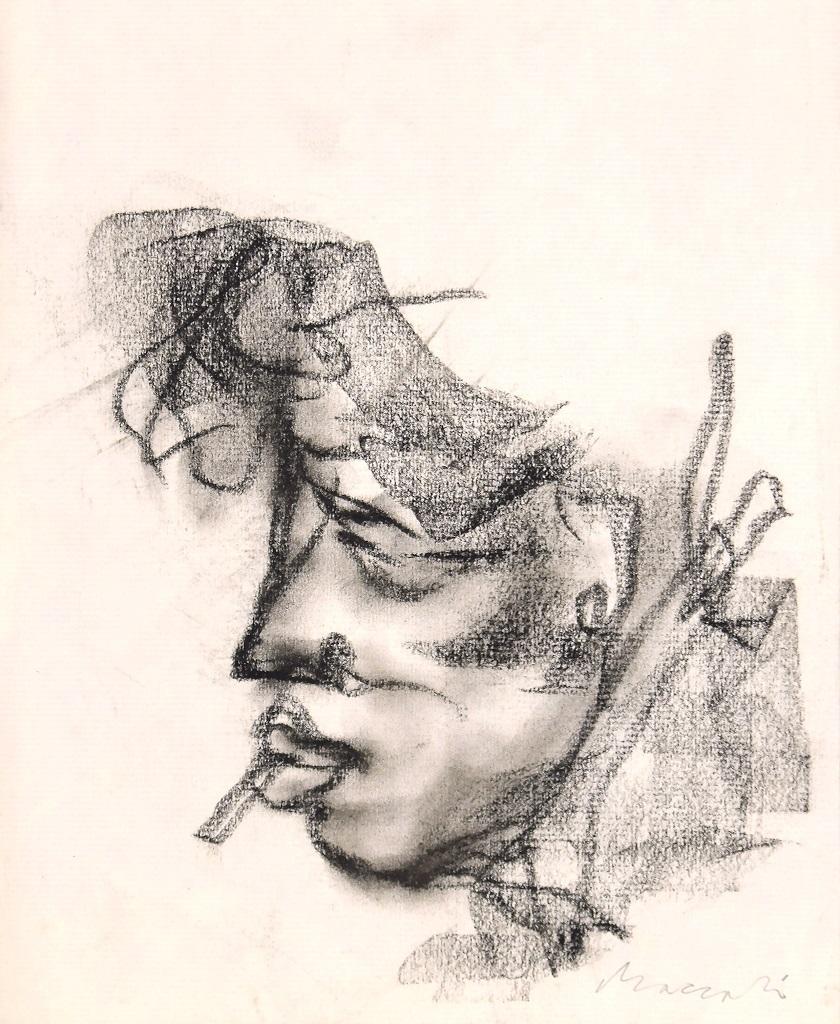 Portrait - Original Charcoal Drawing by Mino Maccari - 1920s