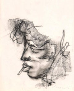 Portrait - Original Charcoal Drawing by Mino Maccari - 1920s