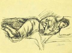 Sleeping Woman - Original Pen Drawing by Mino Maccari - 1950