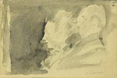 Portrait of Couple - Original Pencil and Watercolor by Mino Maccari - 1950