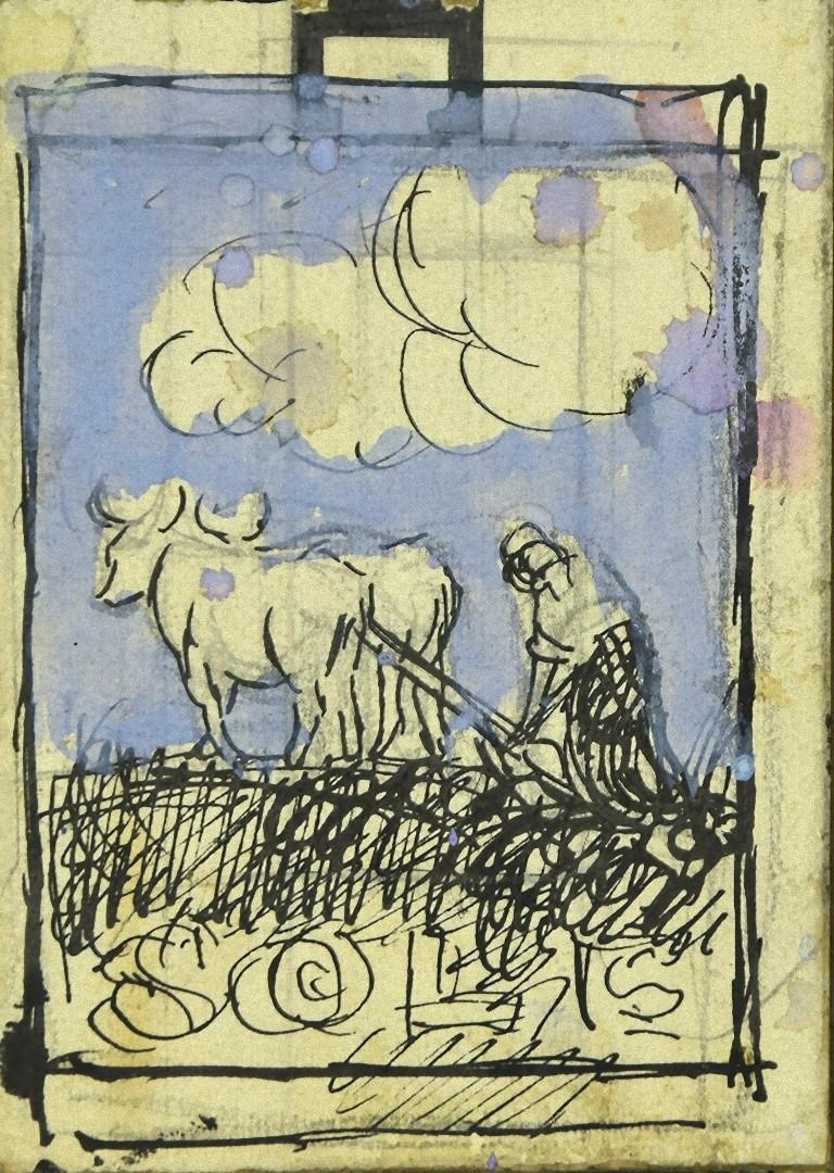 Cart with Oxen - Original Pencil and Watercolor on Paper - Early 20th Century