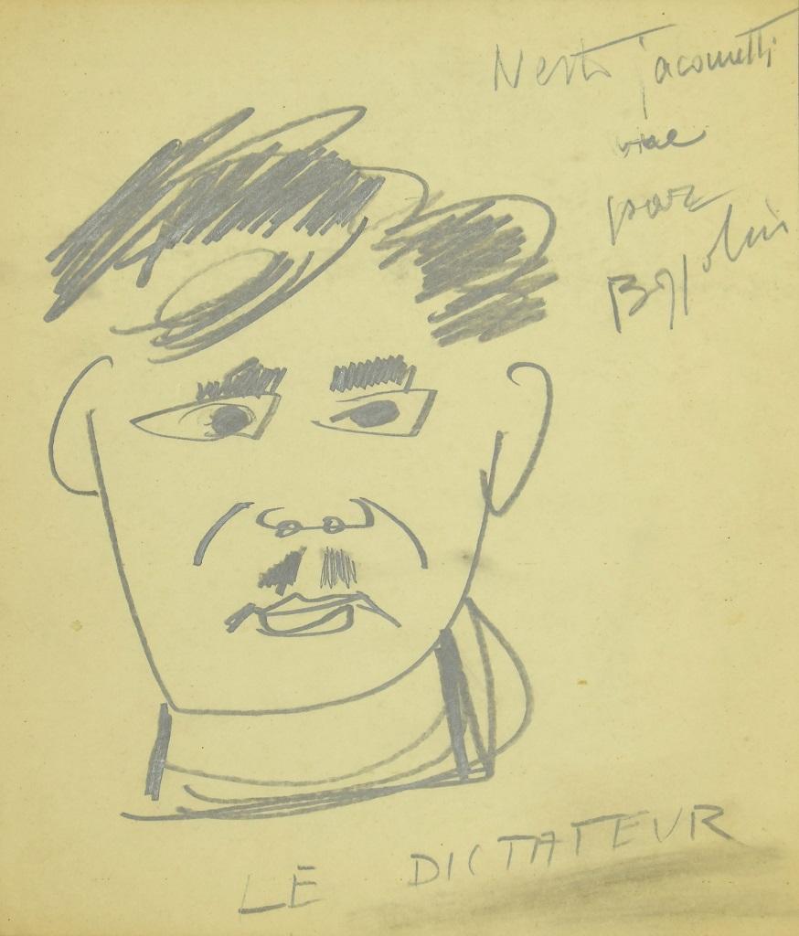 The Dictator - Original Pencil On Paper by Silvano Bozzolini - Mid-20th Century