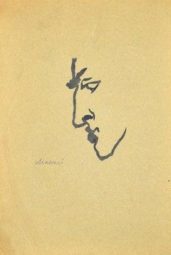 Man in Profile - Original Watercolor by Mino Maccari - 1950