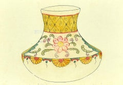 Decorated Vase - Original Mixed Media on Paper by G. Fourmaintraux - Early 1900