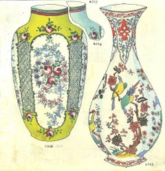 Amphora and Vase - Original Ink and Watercolor by G. Fourmaintraux - Early 1900