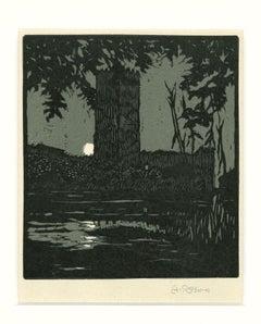 Lago di Ninfea - Original Woodcut by A. Rossini - Early 20th Century