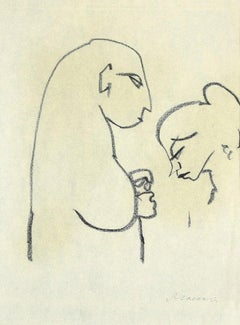 Two Figures in Profile - Original Black Pen on Paper by M. Maccari - 1950