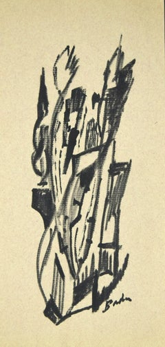 Abstract Composition - Original Charcoal on Paper - 1960