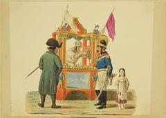 Soft Drink Seller - Original Gouache - by Michela De Vito - 19th Century