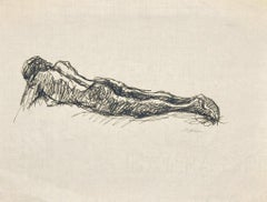 Reclining Nude - Original Ink on Tissue Paper by Mino Maccari - 1950