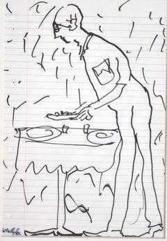 The Waiter - Original China Ink by Miimmo Rotella - 1987