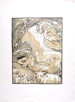 The Pan Flute - Original Lithograph by Ferdinand Bac - 1922