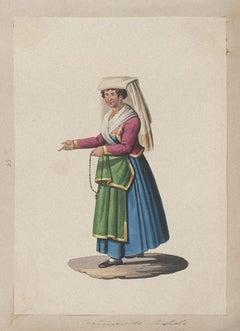 Costume di Napoli - Original Gouache - by Michela De Vito - 19th Century