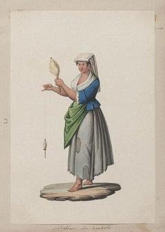 Neapolitan Costume - Original Gouache - by Michela De Vito - 19th Century