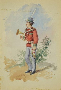 Uniform of the Municipal Music Band - Original Ink and Watercolor - 1885