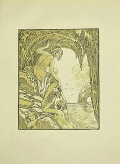 Bacchus and the Nymphs  - Original Lithograph by Ferdinand Bac - 1922