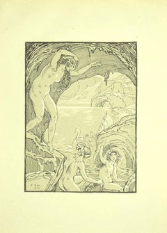 Nymphs in the Cave - Original Lithograph by Ferdinand Bac - 1922