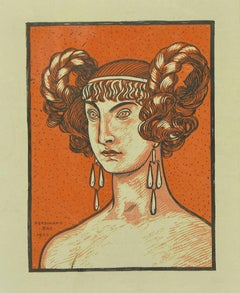 The Orange Goddess - Original Lithograph by Ferdinand Bac - 1923