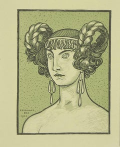 The Green Greek Goddess - Original Lithograph by Ferdinand Bac - 1923