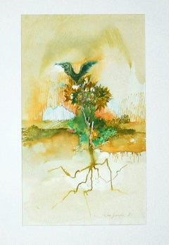 Composition - Original Ink and Watercolor on Paper by Leo Guida - 1971