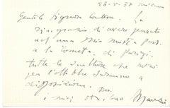 Original Card Signed by Giacomo Manzù to the Countess Pecci-Blunt - 1937
