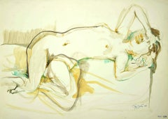 Nude of Woman - Original Ink and Watercolor on Paper by Leo Guida - 1985