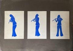 Flute Player - Original Mixed Media by Esy A. Belluzzi - 1972