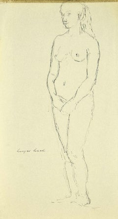 Female Nude - Original Ink on Paper by Georges Isaul - 1940s