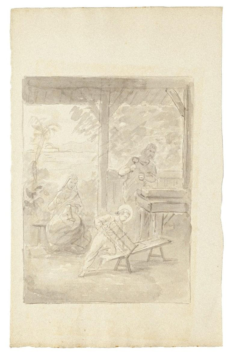 The Holy Family - Original Ink and Watercolor on Paper - Early 19th Century
