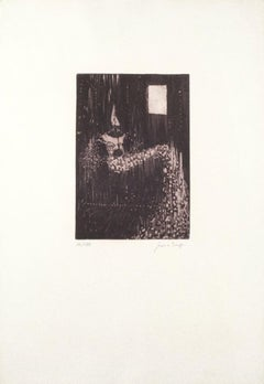 Seated Figure - Original Etching on Paper by Salvatore Provino - 1972