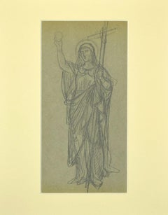 Holy Mary  - Original Pencil on Paper - 1920s