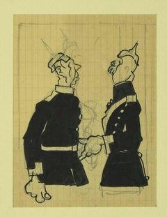 Austro-Hungarian Soldiers- Original Mixed Media by G. Galantara - Early 1900