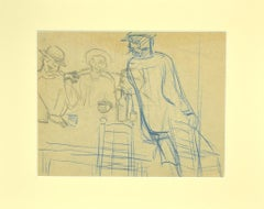 The Drinkers - Original Pencil and Blue Pastel Drawing - 1920s