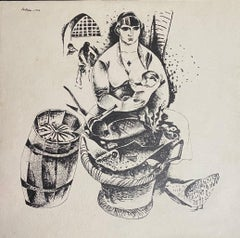 Woman with Baby at the Market - Original Lithograph by Boris Kellmann - 1922