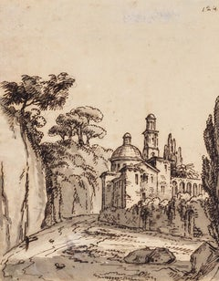 Landscape - Rome - Original China Ink and Watercolor - 18th Century