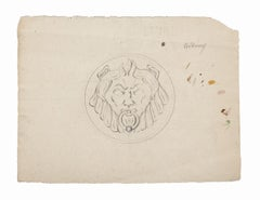 Lion Head - Original Pencil Drawing by Pierre Andrieu - 19th Century